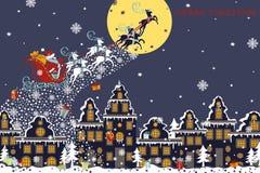 Christmas horizontal card.Santa Claus coming to Royalty Free Stock Photography