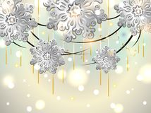 Christmas Horizontal Card with silver snowflakes Stock Image