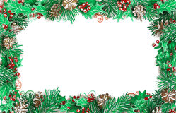 Christmas horizontal frame of pine branches with cones and holly. Vector festive illustration. There is copy space for your text on white background Stock Photo