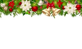 Christmas horizontal seamless background with fir branches, balls. Vector Christmas horizontal seamless background with red and silver balls, bells, poinsettia Royalty Free Stock Photo