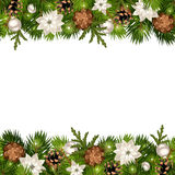 Christmas horizontal seamless background with fir branches and cones. Vector eps-10. Royalty Free Stock Photography