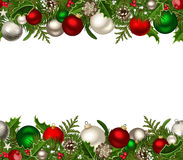 Christmas horizontal seamless background. Christmas horizontal seamless background with red and silver balls, fir-tree branches, cones, holly and mistletoe Royalty Free Stock Photos