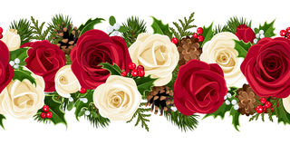 Christmas horizontal seamless background with rose Royalty Free Stock Photography