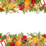 Christmas horizontal seamless background. Vector illustration. Vector horizontal seamless background with fir branches, balls, bells, gingerbread cookies, candy Stock Images
