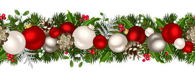 Christmas horizontal seamless background. Vector illustration. Vector Christmas horizontal seamless background with fir-tree branches, red and silver balls