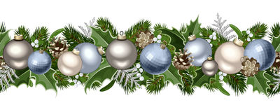 Christmas Horizontal Seamless Garland. Royalty Free Stock Photo
