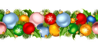 Christmas horizontal seamless garland with colorful balls. Vector illustration. Vector Christmas horizontal seamless garland with colorful balls and fir-tree Royalty Free Stock Photography