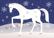 Christmas horse vector illustration