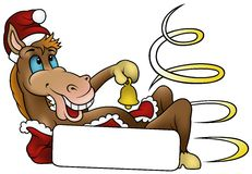Christmas Horse. 2010 - colored cartoon illustration Royalty Free Stock Images