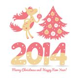 Christmas horse decorates the Christmas tree. This is file of EPS10 format Royalty Free Illustration