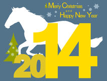 Christmas 2014 with horse. New year background with the symbol of the 2014 horse Stock Photography