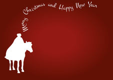 Christmas horse red card wishes Royalty Free Stock Images