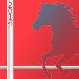 Christmas Horse silhouette symbol of New Year 2014. Card vector Royalty Free Stock Photos