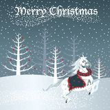 Christmas horse with snow scene Royalty Free Stock Images