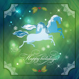 Christmas Horses on Abstract Night Background Stock Photos