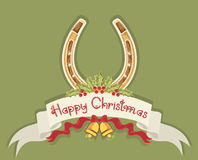 Christmas horseshoe background Stock Photo