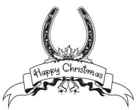 Christmas horseshoe background Stock Photos