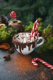 Christmas hot chocolate in a black cup with caramelized oranges, fir branches and candy cane on dark background, Selective focus Royalty Free Stock Photography