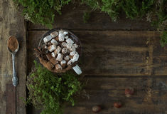 Christmas hot chocolate with marshmallows and nuts on a wooden background with moss, top view Stock Photo