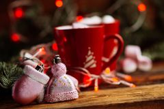 Christmas Hot Chocolate with Marshmallows in Red Mugs, square Stock Photos