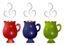 Christmas Hot Chocolate Mugs. A clip art illustration of a cup of hot chocolate with marshmallows in your choice of red, blue or green with snowflake design royalty free illustration