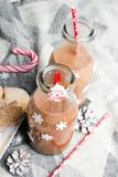Christmas hot chocolate, sweet cookies Royalty Free Stock Photos