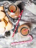 Christmas hot chocolate, sweet cookies Royalty Free Stock Image