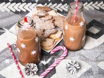 Christmas hot chocolate, sweet cookies Stock Photos