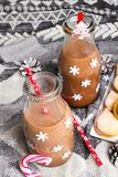 Christmas hot chocolate, sweet cookies  and colorful decorations Stock Image