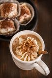 Christmas hot chocolate with whipped cream and cookies stock image