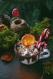 Christmas hot chocolate in a white cup with marshmallow, caramelized oranges and candy cane on dark background, Selective focus Stock Photography