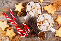 Christmas hot drink. Cocoa with marshmallows, chocolate and cinnamon Royalty Free Stock Images