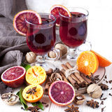 Christmas hot drink in glass Royalty Free Stock Image