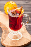 Christmas hot drink mulled wine with spices in glass Royalty Free Stock Image