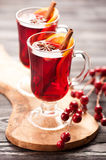 Christmas hot drink mulled wine with spices and honey Stock Photography