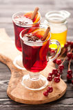 Christmas hot drink mulled wine with spices and honey Stock Photo