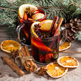 Christmas hot mulled wine with cinnamon cardamom and anise Stock Photography
