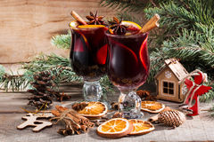 Christmas hot mulled wine with cinnamon cardamom and anise Royalty Free Stock Photography
