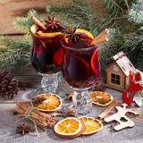Christmas hot mulled wine with cinnamon cardamom and anise Royalty Free Stock Photo
