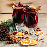 Christmas hot mulled wine with cinnamon cardamom and anise Stock Images