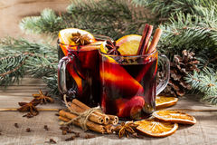 Christmas hot mulled wine with cinnamon cardamom and anise Stock Image