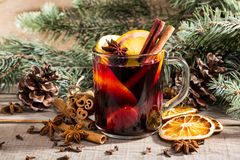 Christmas hot mulled wine with cinnamon cardamom and anise Royalty Free Stock Images