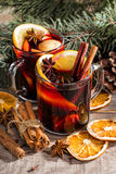 Christmas hot mulled wine with cinnamon cardamom and anise Stock Photos