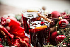 Christmas hot mulled wine with spices Royalty Free Stock Photo