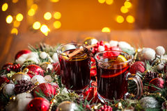 Christmas hot mulled wine with spices Royalty Free Stock Photography