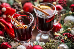 Christmas hot mulled wine with spices Stock Photos