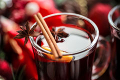 Christmas hot mulled wine with spices Stock Images