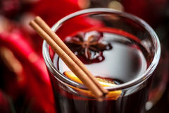 Christmas hot mulled wine with spices Royalty Free Stock Images