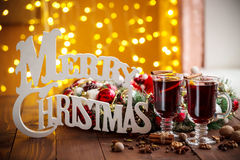 Christmas hot mulled wine with spices Royalty Free Stock Photos