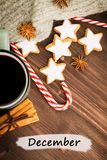 Christmas hot steaming cup of glint wine with spices, cinnamon, anise, cookies in a shape of star, red candies, fir cones, pepper. And gray scarf on wooden stock photo